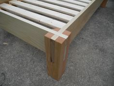 poplar frame, douglas fir posts, & slats from Ikea. sized to fit a crib mattress. Wooden Bed Frames, Wood Beds, Woodworking Joints, Woodworking Projects, Diy Wood Projects, Wood Crafts, Homemade Beds, Wood Joinery, Diy Bed