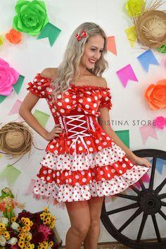 Vestido Poá Vermelho - Caipira Chic na internet