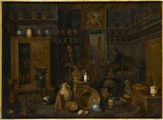 3- L'apothicaire - Valentino, Gian Domenico (17e siècle) 98 x 74 cm | Ajaccio, Palais Fesch, musée des Beaux-Arts, inv. MFA852.1.461.- § VALENTINO: Il lui arrive de donner un plus grand rôle à ses figures humaines comme dans l'Alchimiste dans son laboratoire, ou La Botica du Musée Fesch d'Ajaccio, où l'accent est mis sur des lignes horizontales et verticales, créant ainsi un espace ordonné en contraste avec l'encombrement des objets.-