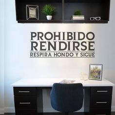 Ad Home, Office Quotes, Gym Room, Wood Vinyl, Co Working, Break Room, Office Decor, Home Goods, Spanish Quotes