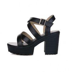 8079d34feb8 AllhqFashion Women s Round Open Toe High Heels Sheepskin Solid Sandals...  (315 CNY