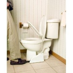 This toilet seat pedal is a brilliant solution to end fights over leaving the toilet seat up and down. Just like a regular trash can pedal, you step on the pedal to lift up the toilet seat, and remove your foot when you are done and the toilet seat slowly drops back down.