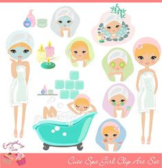Cute Girl Spa Clip Art Set by EverythingNice on Etsy, Cute Designs, Designs To Draw, Spa Art, Girls Clips, Girl Clipart, Hair Spa, Print And Cut, Printing On Fabric, Clip Art