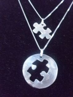 Mother Daughter Puzzle Necklace Set by silverdragonfly260 on Etsy, $55.00