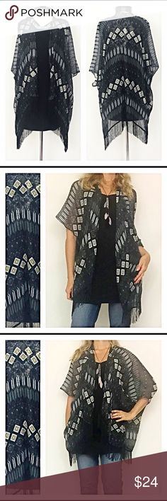 """1DAYSALE Fall Cardigan Kimono Lightweight Fringe Wrap yourself in this lightweight semi-sheer kimono cardigan this season. You will love the tribal print in gray, white & khaki against the black background. The fringe hem is a great trendy touch. One size fits most (Sizes XS-LG) 100% Polyester. Model 5'7"""" for reference great for fall winter spring & summer long Sweaters Cardigans"""