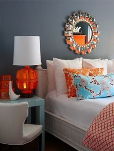turquoise, blue, orange and gold bedrooms - Google Search ...