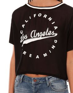 Bershka España - Camiseta Bershka 'Los Angeles' Fasion, Active Wear, Shirt Designs, Lady, Sweatshirts, Tees, Prints, Cotton, T Shirt