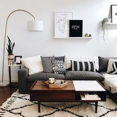 42 Best Modern Apartment for 2019 & 68 Minimalist Living Room Design Ideas Small Living Rooms, Living Room Modern, Home Living Room, Living Room Lamps, Gray Couch Living Room, Living Room Apartment, Living Room Decor Black And White, Black White Decor, Small Living Room Designs