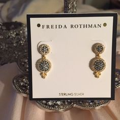 Freida Rothman Earrings These are so sparkly and beautiful in real life!! The contrast in color make them so unique in their design. I'm selling a pendant that I've worn as a set. You can bundle and save or buy alone. One stone looks like it's missing. When worn you can not notice at all!! I zoomed in to show.  Freida Rothman Jewelry Earrings