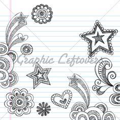 Hand-Drawn Back to School Sketchy Notebook Doodles Vector Illustration Design Elements on Lined Sketchbook Paper Background