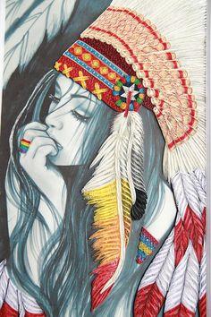 Native Indian Girl sticker par GiftableArts sur Etsy