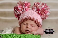 Funny Big Poms Crochet Hat for Baby Girl or Baby Boy Photography Prop Ready Item