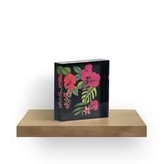 'Tropical Flowers Illustration' Acrylic Block by Tropical Flowers, Photographic Prints, Sell Your Art, Display Ideas, Diamond Cuts, Vibrant, Crystals, Business, Illustration