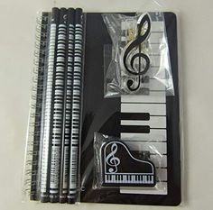 Music Themed Stationery Notebook Set - Black Keyboards Spiral Bound Notebook, Piano Eraser, Treble Clef Clip and 4 Musical Notes Pencils Gift For Music Lover, Music Gifts, Music Lovers, Music Items, Music Stuff, Piano Gifts, Mundo Musical, Music Jewelry, Music Decor