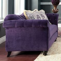Agatha Traditional Tufted Loveseat by FOA (Purple), Furniture of America (Fabric) Linen Sofa, Tufted Sofa, Chesterfield Sofa, Yellow Cushions, Traditional Fabric, Black Furniture, Find Furniture, Online Furniture Stores, Home Decor Trends