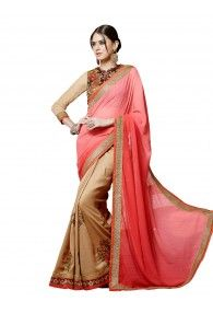 Classic Beige Embroidered Saree with unstitched Blouse