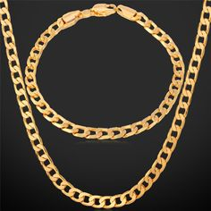 "Gold Necklace Set With ""18K"" Stamp 2015 New Trendy Gold Plated Cuban Link Chain Necklace Bracelet Party Men Jewelry Set"