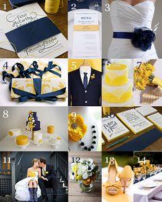 navy blue & yellow