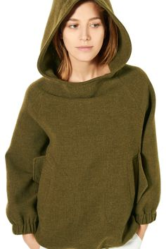 Nili Lotan - Pre-Fall 2015 -  Greenish-brownish Hoodie sewn with gathered sleeves and side pockets.