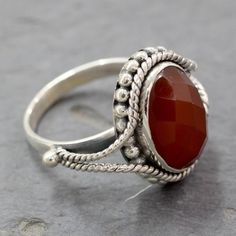 Handcrafted Sterling Silver Sun Afire Red Carnelian Ring (India)