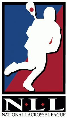 National Lacrosse League Primary Logo (1998) - A silouhette of a lacrosse player on a red and blue box