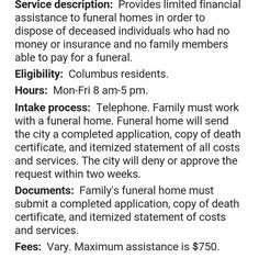 INDIGENT BURIAL / CREMATION EXPENSE ASSISTANCE