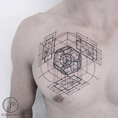 Fibonacci Dodecahedron tattoo on the chest, inspired by an artwork by Rafael Araujo.