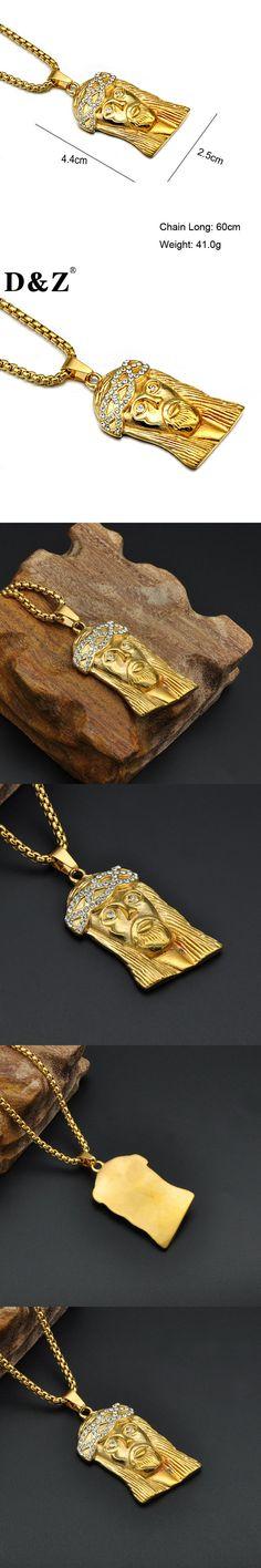 D&Z Religious Gold Color Jesus Necklace 316L Stainless Steel Paving CZ Jesus Pendants Necklaces for Men Jewelry