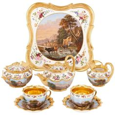 Neoclassical Style French Antique Paris Porcelain Eight-Piece Tea Set | 1stdibs.com