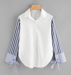 Sheinside Colorblock Striped Sleeve Tie Detailed Top Button Turn Down Collar Long Sleeve Shirt 2018 Spring Women OL Work Blouse Teen Fashion Outfits, Hijab Fashion, Girl Fashion, Ladies Fashion, Fashion Tips, Womens Fashion, Blouse Styles, Blouse Designs, Ropa Upcycling