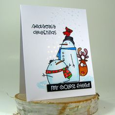 Hello friends:) It's Savannah O'Gwynn sharing and celebrating our January winner and featured players! Christmas Cards 2017, Stampin Up Christmas, Christmas Crafts, Owl Punch, Punch Art, Snowman Cards, Paper Smooches, Heartfelt Creations, Penny Black