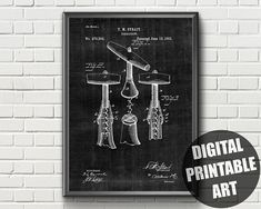 Items similar to Corkscrew Patent Print Wine Wall Art, Kitchen Wall Art, Frame Display, Patent Prints, Vintage Kitchen, Printable Wall Art, Different Colors, Digital Art
