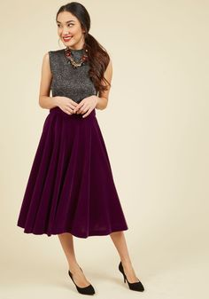 Make Your Presence Throne Skirt. Royally clothed in this purple velvet skirt, you command attention and amass compliments, inspiring onlooking stylistas! #purple #modcloth