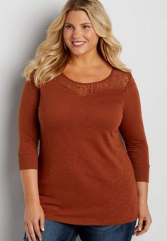 f37194ccc14 plus size tee with lacy neckline