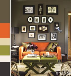 orange green mushroom living room