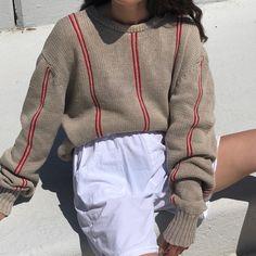 Vintage beautiful ecru cotton knit cherry striped pullover.