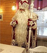 """In Slavic countries Ded Moroz is said to bring presents to children, however, unlike the secretive Santa Claus, the gifts are often delivered in person at a time that varies per country. The literal translation of the name would be """"Grandpa Frost"""", although the name is often translated as """"Father Frost"""". He is distinct in his rounded cap. He is said to be assisted by his granddaughter Snegurochka, or Snow Maiden."""