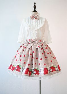 --> #Lolitaupadte: Tanaka.L ~Strawberry & Cup~ JSK and Skirt --> Cheap Prices: http://www.my-lolita-dress.com/tanaka-l-strawberry-cup-printed-lolita-skirt-tl-11