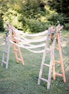 Ladders used for wedding backdrop