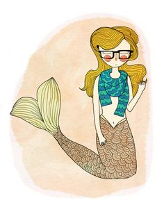 Need her with black hair. :-) Hipster Mermaid Art Print
