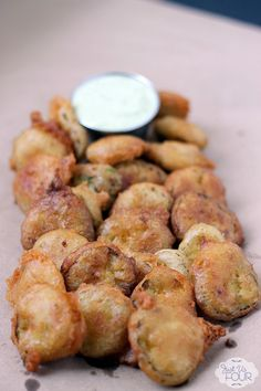 Fried pickles are my favorite and this have a little bit of spice which makes them even better! #recipes #appetizers