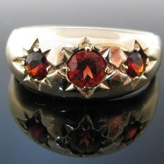 #Vintage #Three #Stone #Garnet #Gold #Ring €350 #Engagement #Jewelry #The #Antiques #Room #Galway #Ireland Garnet Rings, Diamond Rings, Diamond Engagement Rings, Gold Rings, Gemstone Rings, Engagement Jewelry, Garnet And Gold, Gypsy Rings, Galway Ireland