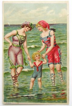 Bathing Beauty Belles Child at The Seashore Postcard