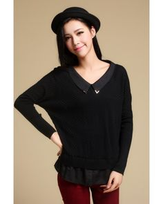 Black Bat Sleeve Doll Collar Chiffon Splicing Sweater - Sweaters - apperal Indressme$41.40