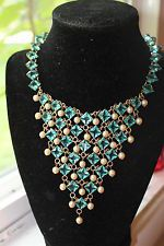 Vintage Coro, Bib, Statement, Collar. Aqua and Pearl Necklace