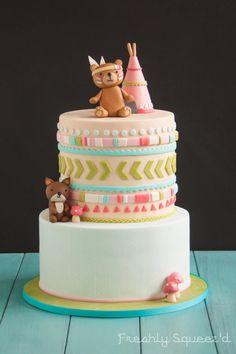 Brooks Woodland Animal Baby Shower Cake - Cake by freshlysqueezd