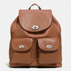 Coach Turnlock Rucksack ($395) ❤ liked on Polyvore featuring bags, backpacks, utility bag, brown slouch bag, coach backpack, utility backpack and pocket backpack