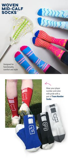 Our lacrosse socks were designed for functionality, comfort, and style. Wear your player number and color with pride a pair of team number socks! #lulalax #laxsocks