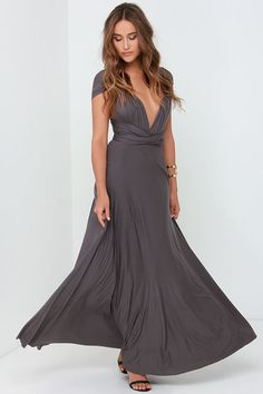 Versatility at its finest, the Tricks of the Trade Dark Grey Maxi Dress knows a trick or two! Long fabric wraps into several bodice styles. Dark Grey Bridesmaid Dresses, Grey Bridesmaids, Grey Maxi, Gray Dress, Short Dresses, Prom Dresses, Formal Dresses, Dress Long, Wedding Dresses