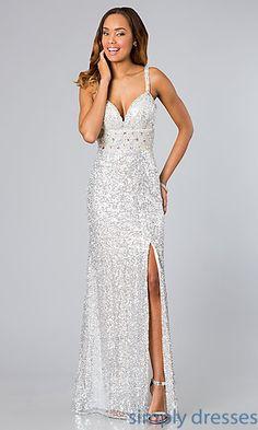 White Sequin Floor Length Dress